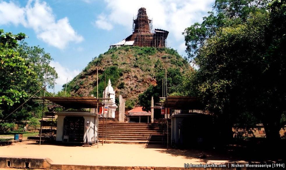Abhayagiriya Stupa under restoration in 1994