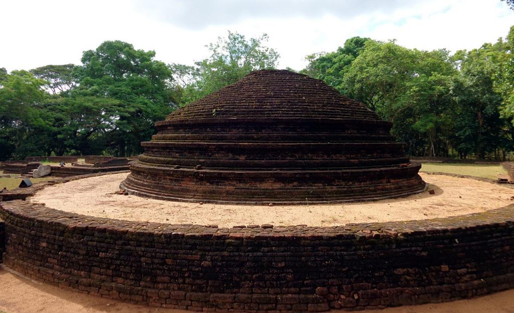The stupa known as the vatadage on a circular platform in the Panchayathana temple complex VI in the Panduwasnuwara ruined city