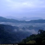 View of the Bathale gala (Bible Rock) through thick mist from Kadugannawa - on the Colombo Kandy route View of the Bathale Gala (Bible Rock) through thick morning mist from Kadugannawa - on the Colombo Kandy route