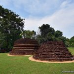 Two conserved stupa mounds at the Beddagana Veherakanda Archaeological Site