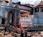 destruction in front of maha vahalkada - the main entrance