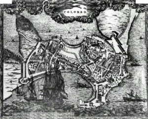 Photograph of a print showing a bird's eye view map of Colombo and environs, 17th century