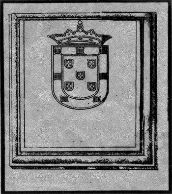Portuguese emblem carved on the rock slab
