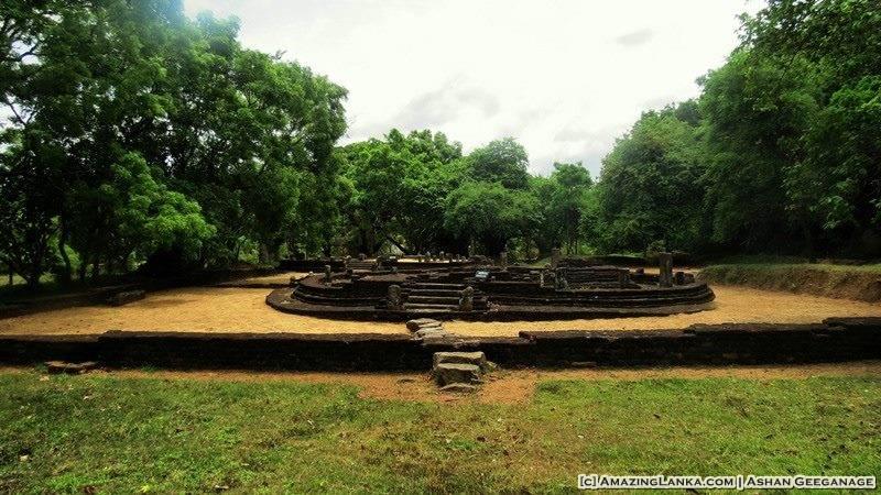 Ruins of the ancient bodhighara at the Dambulla Somawathiya