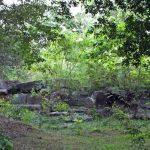 The ruins of the building where the entrnace is adorned with Punkalas (pots of plenty) as the guard stones at Vijayaramaya ruins of Anuradhapura