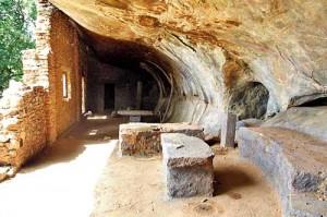 Remains of the ancient cave temple at Andigala Rajamaha Viharaya