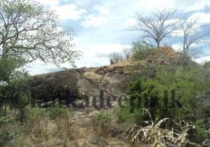 Buddhist Ruins on top the rock at the Maha Siyambalawa Devalaya at Kebiliththa