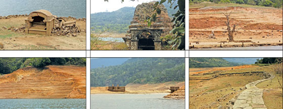 The ruins of ancient temples and other buildings which were submerged under the waters of Kothmale Reservoir are seen like a ghosts town during the dry season when the water levels are low.