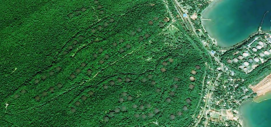 Satellite view of the farm of giant storage tanks lost in the jungles