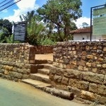 The protective wall of the Hanguranketha Pattini Devalaya