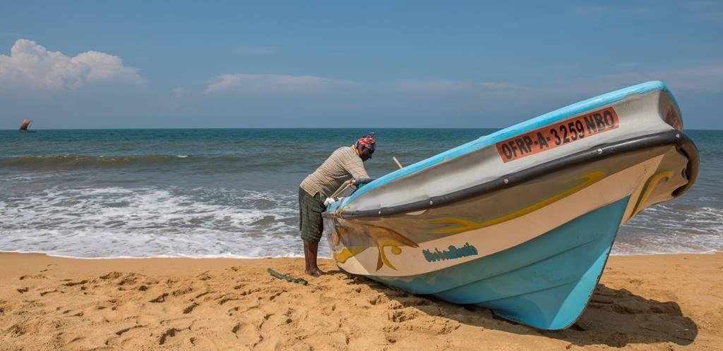 A fiber glass fishing boat