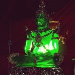 One of the replicas of the famous Emerald Buddha of Thailand dressed in the summer clothing at Wathuruwa Rajamaha Viharaya