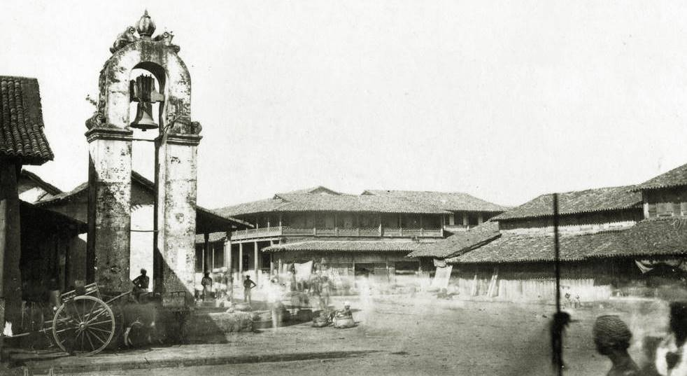 Kayman's gate bell tower at Main street, Pettah, Colombo in 1860