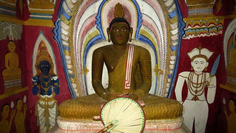 The restored image of Buddha at Thalakiriyawa Tampita Viharaya