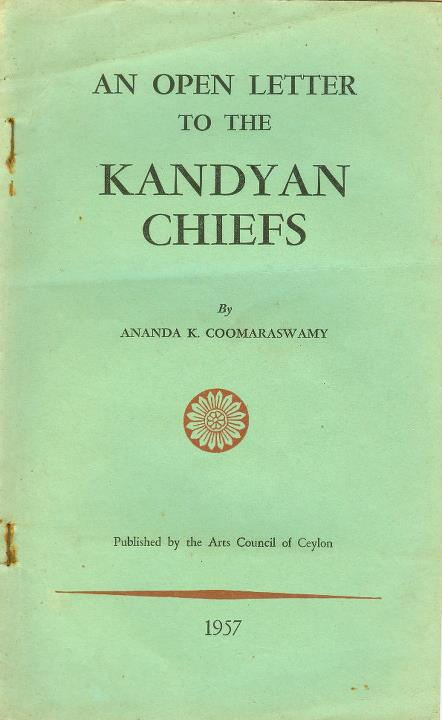 An Open Letter to the Kandyan Chiefs