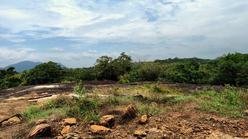 The only remains of the ancient stupa at the top of the Vehera Pudamaya rock at the Thottama Ariyakara Rajamaha Viharaya