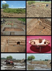 The paddy fields before excavation, recovered artifacts and todays situation