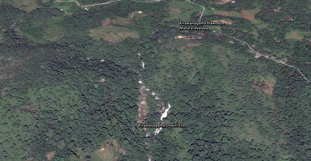 Satellite view of the Kirawanagama Dowili Ella