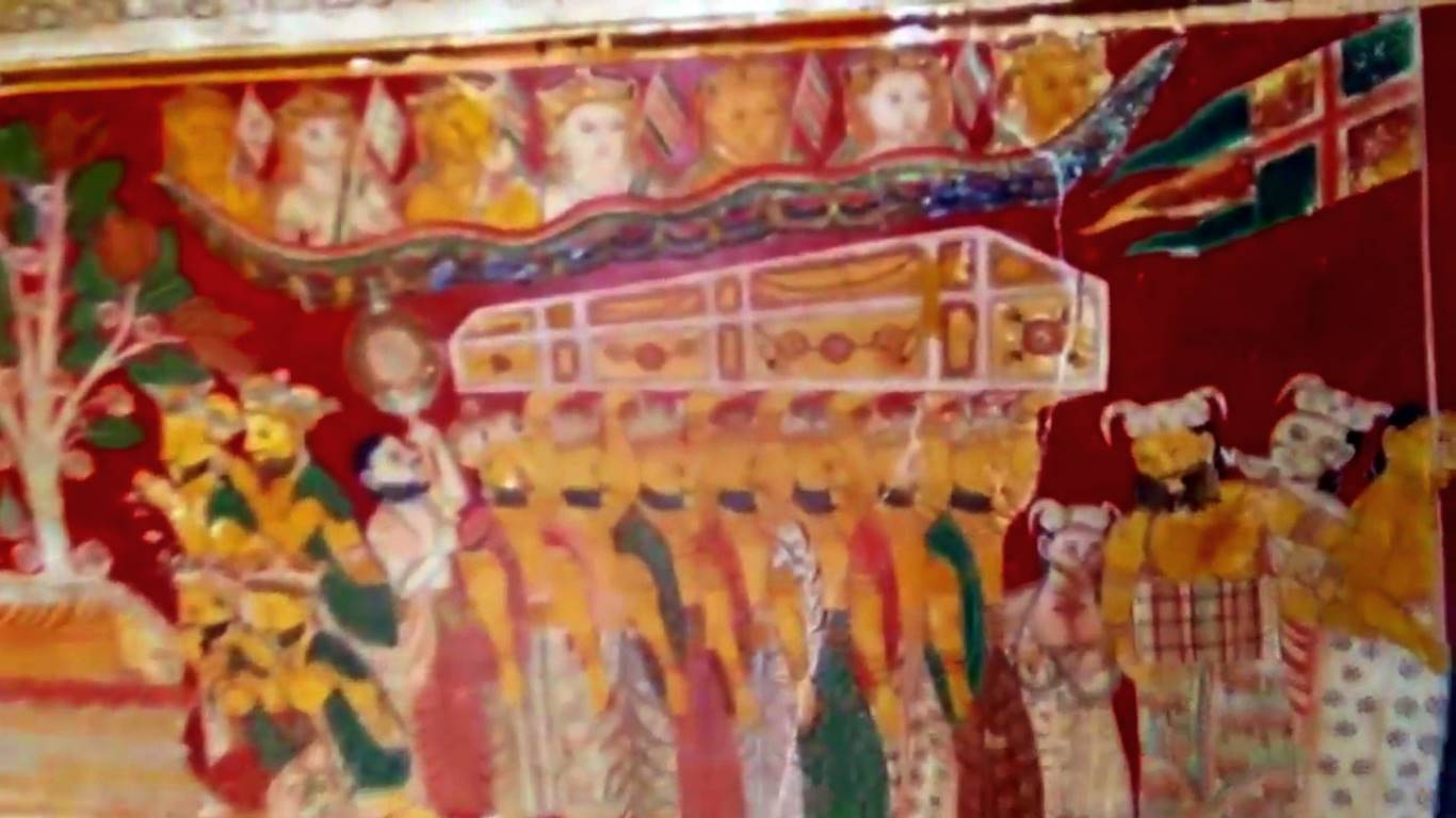 A mural of the body of Buddha being carried in a casket after Maha Parinirvana at the Octagonal image house at Kathaluwa Purana Viharaya