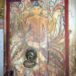 door to the inner chamber is decorated with two narilatha flowers at the Dethawa Sri Mahamuni Purana Tampita Viharaya