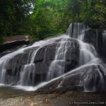 The 11 meter high Thotas Ella waterfall originates from a stream which flows through the Yagirala Forest Reserve