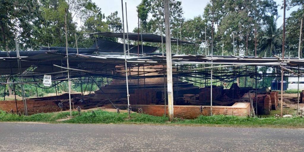 The ancient stupa of Nathagane Viharaya under excavation and restoration.