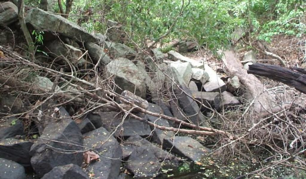 Ruins of Thulawelliya Gal Palama (Stone Bridge) over Kanadara Oya