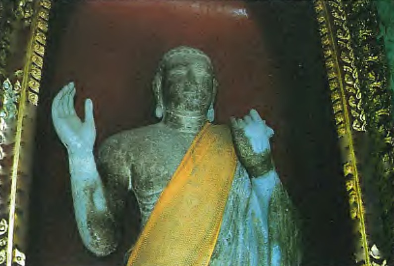 """Vallipuram Buddha Statue of Sri Lanka now lying at the Marble Temple in Bangkok hidden away in a insignificant corner. <br> photo by Peter Schalk in The Vallipuram Buddha Image """"Rediscovered"""""""