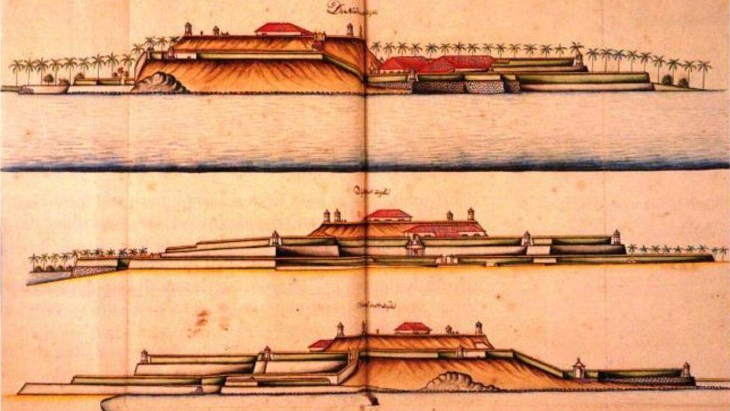 1717-1721 අතර රම්ෆ්ගේ දිනපොතන් (ලංකාවේලන්දේසි ආණ්ඩුකාරතුමා) වර්ණ ගැන්වූ පින්තූර -කළුතර බලකොටුව -උතුරු දෙසින් හා දකුණු දෙසින් . - colored paintings from Rumpf's Diary (the Dutch Governor of Ceylon) 1717 -1721 - Views of the Kalutara Fort from North and South