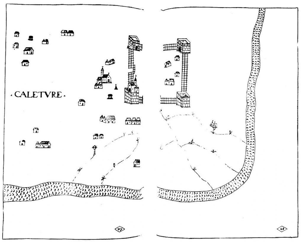 1635 දී අඳිනලද කළුතර බලකොටුවේ සැළැස්මක් - A plan of the Kalutara Fort drawn in 1635